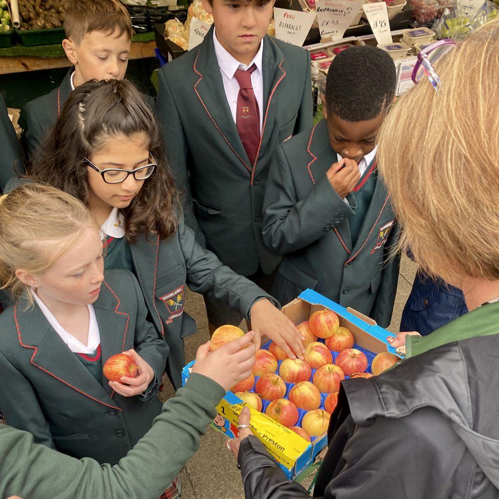 teacher distributing apples