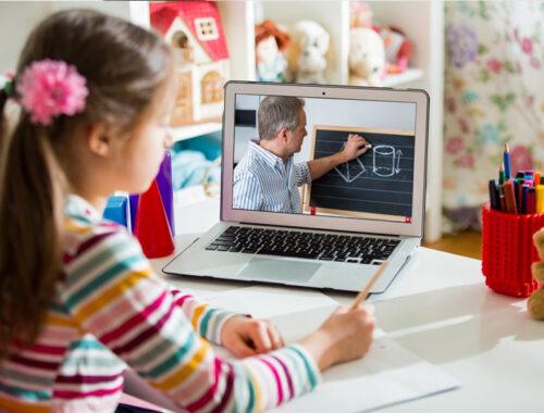 Girl learning through laptop
