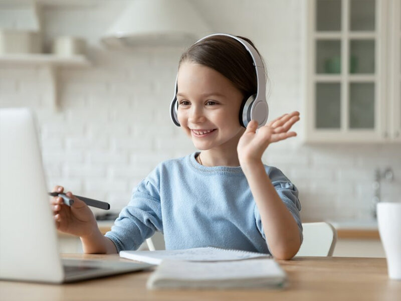 Girl smiling with headphones